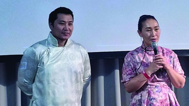 Director of Mongolian film, The Steed, and director-general of Mongolian tourism Bayasgalan Saranjav at the forum.