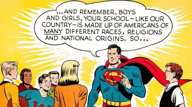 Superman, the DC Comics superhero, has a new mission protecting hard-working immigrants from white supremacist bullies. (Photo: Facebook/ DC Comics)