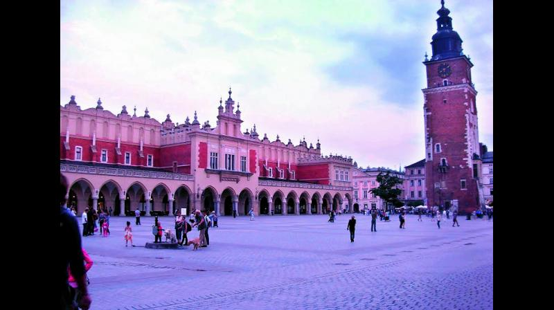 The beautiful medieval market square at Krakow dates back to the 13th century.