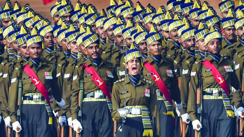 The Indian Army Corps of Signals contingent led by Captain Tanya Shergil marches during the 71st Republic Day Parade at Rajpath in New Delhi (Photo: PTI)