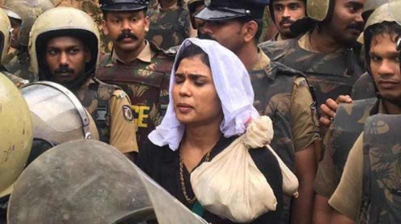 Fathima, along with a woman journalist, had gone to the Sabarimala Temple in October.  (Photo: ANI)