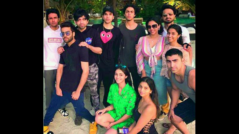 Ananya Panday with her friends at Alibaug