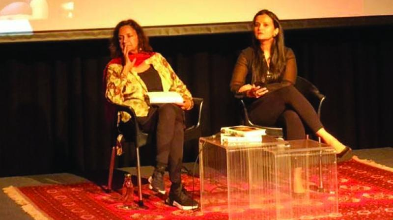 Deepa Narayan (L) and Meghna Pant (R) interact with the audience.