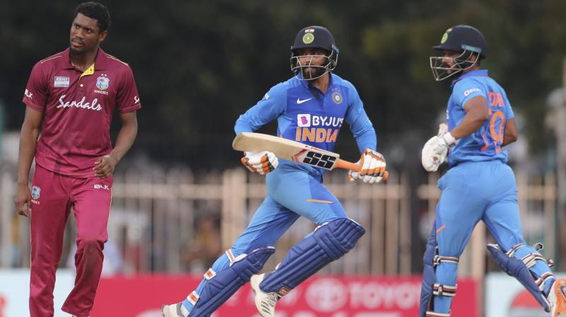 After winning the three-match ODI series against West Indies, India's all-rounder Ravindra Jadeja on Sunday said that his innings was very crucial looking at the situation of the match and he just tried to play as per the merit of the ball. (Photo:AP)