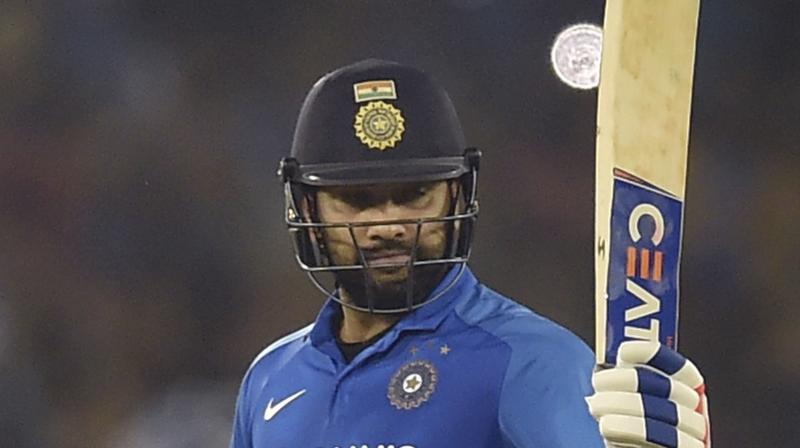 After playing a knock of 63 runs in the third and final ODI of the three-match series against West Indies here, India's opening batsman Rohit Sharma ended 2019 with the most number of ODI runs. (Photo:PTI)