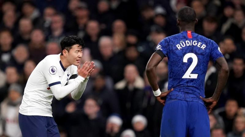 Chelsea manager Frank Lampard said the problem needed 'to be dealt with strongly' and Tottenham promised 'a thorough investigation' after referee Anthony Taylor halted play during the second half when Antonio Rudiger complained of hearing monkey noises from spectators. Moments earlier the Chelsea defender had been involved in a second-half clash with Son Heung-min that saw the South Korean sent off. (Photo:Twitter)