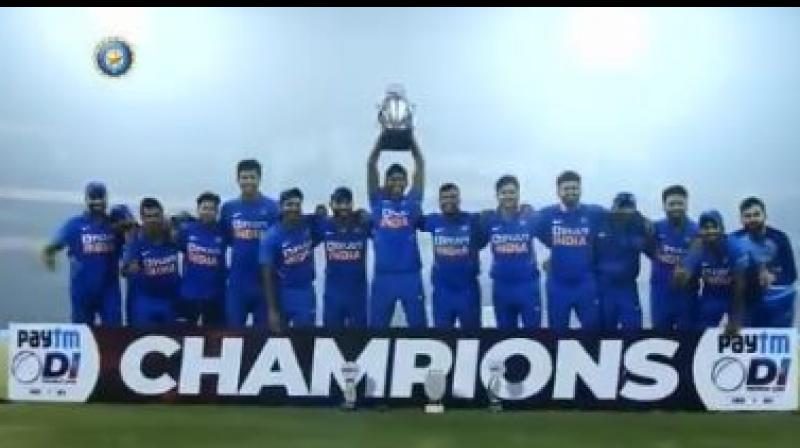 The cricket fraternity on Sunday congratulated the Indian team for their victory over West Indies in the series decider at the Barabati Stadium in Cuttack. (Photo:BCCI)