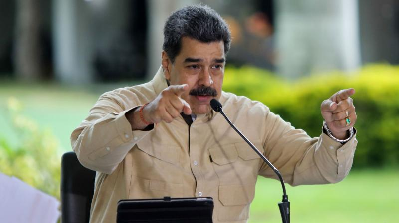 Venezuela's President Nicolas Maduro speaking during a televised announcement from Miraflores Presidential Palace in Caracas. (AFP)