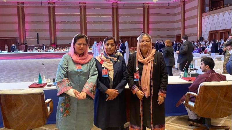 Four Afghan women who endured the Taliban's oppressive rule and have fought for fragile gains since the militants were ousted are facing the hardline group in peace talks. (Image: Twitter@Zarifa_Ghafari)