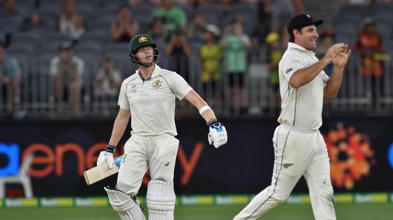 Despite facing a massive defeat at the hands of Australia, New Zealand coach Gary Stead said that getting Steve Smith out early in both the innings was a good thing. (Photo:AFP)