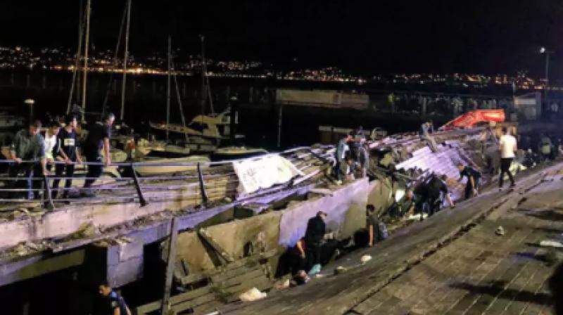 Vigo's mayor Abel Caballero said the platform that collapsed just before midnight was 30 metres long and 10 metres wide. (Photo: Twitter | Miguel_Fidalgo)