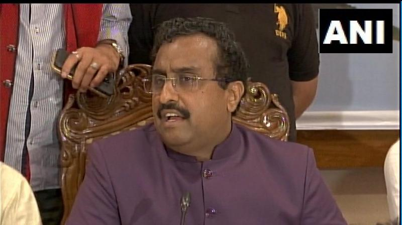 'To protect their slipping political base, fear is being created among people. We've to take forward work going on in J&K, Assembly polls have to be conducted,' Ram Madhav said. (Photo: ANI)