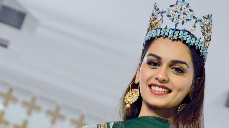 Miss World Manushi Chillar at a press conference in Mumbai on Monday. (Photo: Rajesh Jadhav)