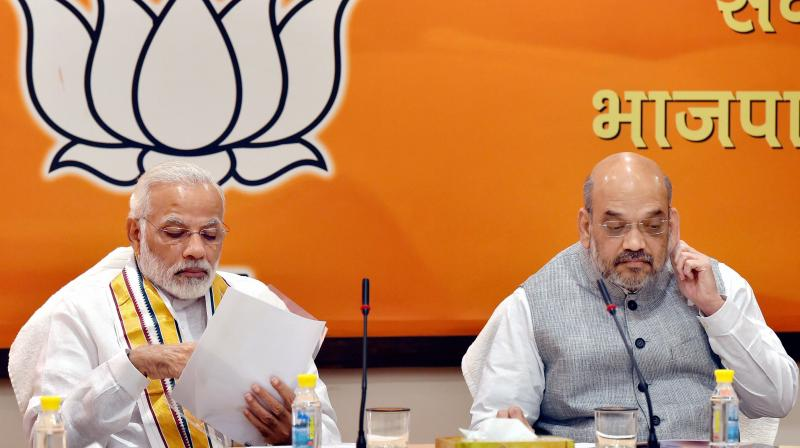 Prime Minister Narendra Modi with BJP President Amit Shah (Photo: PTI)