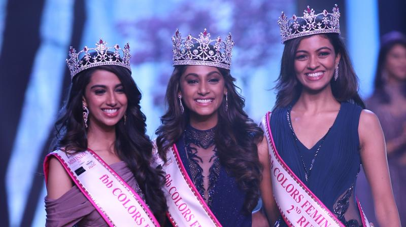 Miss India 2018 Anukreethy Vas (in middle) from Tamil Nadu along with first runner-up Meenakshi Chaudhary from Haryana and second runner-up Shreya Rao Kamavarapu from Andhra Pradesh.