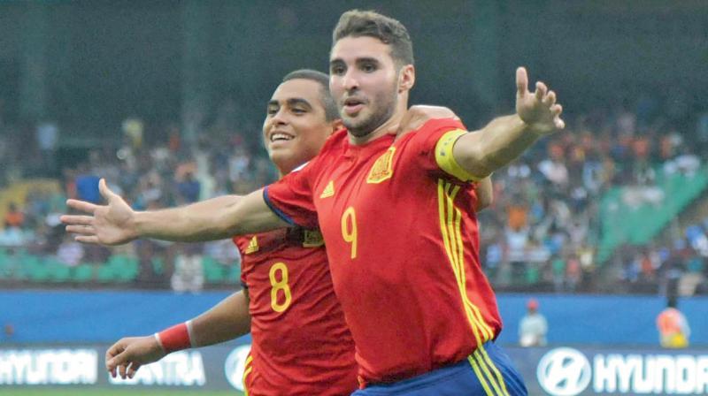 Spain captain Abel Ruiz celebrates his goal against Iran at the Jawaharlal Nehru Stadium in Kochi on Sunday. Spain won 3-1. (Photo: Sunoj  Ninan Mathew)