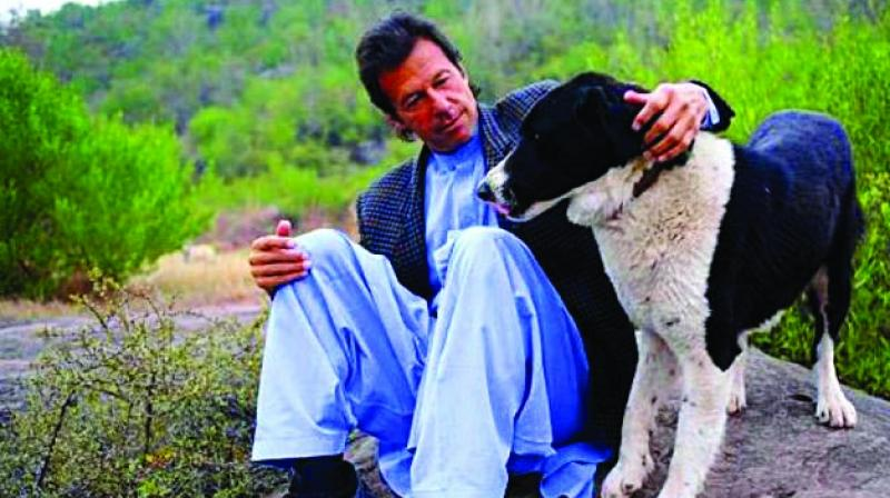 Imran Khan with his pet dog