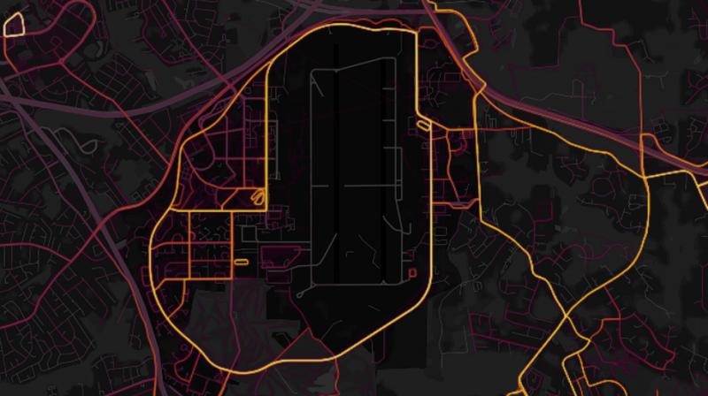 The map, made by Strava Labs, shows the movements of its app users around the world, indicating the intensity of travel along a given path -- a 'direct visualization of Strava's global network of athletes,' it says. (Photo: Strava)