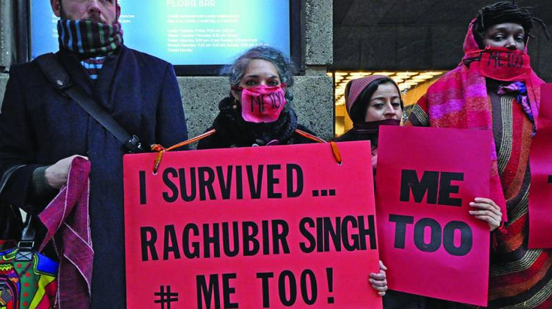 A file photo of artist Jaishri Abichandani protesting in New York