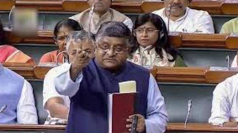 Speaking in Lok Sabha before moving the resolution, Law Minister Ravi Shankar Prasad said the triple talaq bill, which seeks imprisonment for Muslim men accused of instant divorce, is not about politics but empowerment and justice for women. (Photo: File | Screengrab LSTV)