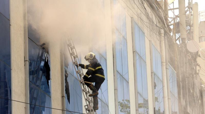 A fire broke out at Raghuvanshi mill compound in Mumbai's Lower Parel. (DC Photo: Rajesh Jadhav)