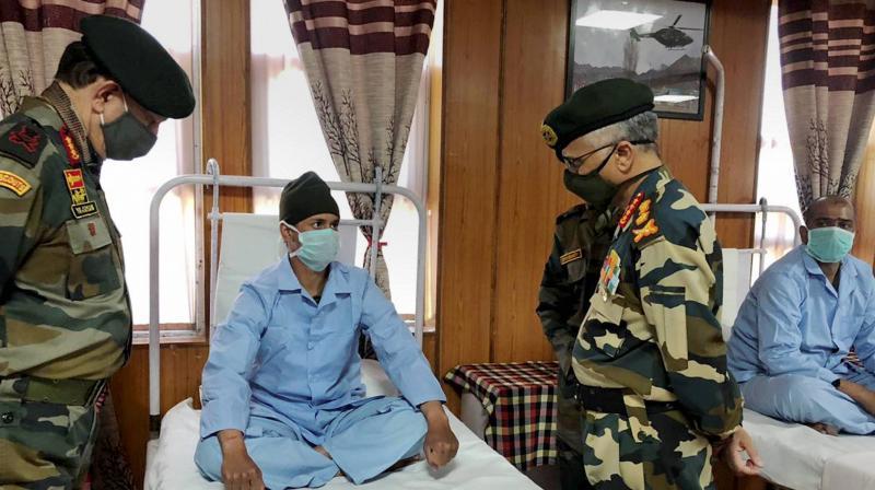 Army chief General MM Naravane meets injured soldiers at Leh. (PTI)