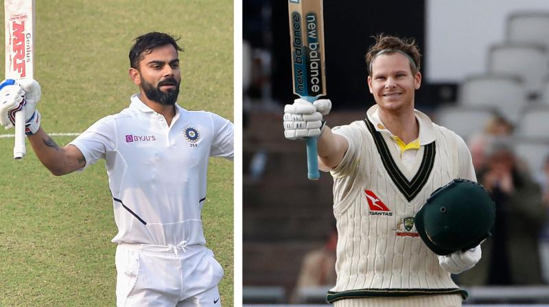 India captain Virat Kohli rode on his commanding century in the Day/Night Test to close in on top-ranked Steve Smith. Kohli (928 rating points), who hit 136 against Bangladesh in the second Test in Kolkata, reduced the gap from 25 to three points with Australian Smith (931) to retain the second spot.  (Photo:AP/PTI)