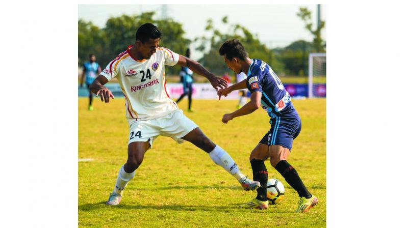 Action from the I-League match between Minerva Punjab FC and East Bengal in Panchkula on Tuesday. East Bengal won 1-0.