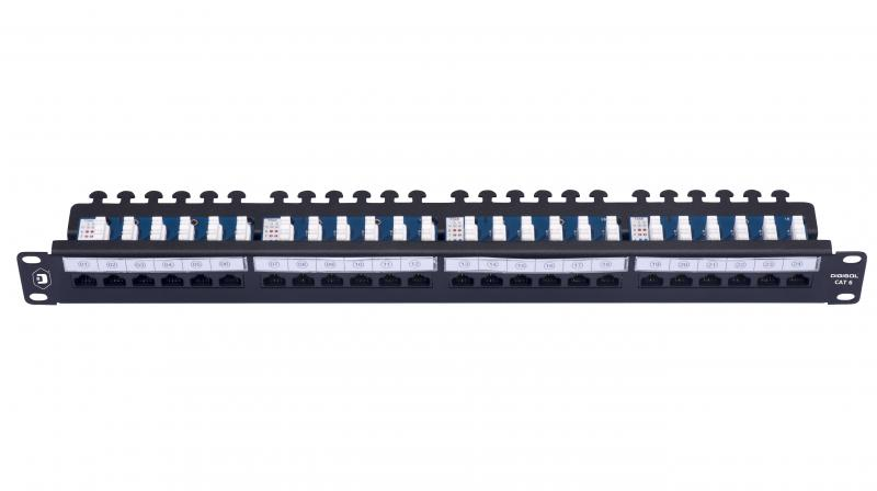 The patch panel features 90 degree Punch-Down design, which makes it easy to terminate each cable separately and strongly.