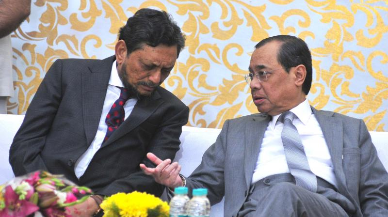Outgoing CJI Ranjan Gogoi with CJI-designate Justice Sharad Arvind Bobde during his farewell function at the Supreme Court in New Delhi on Friday.  (Photo: PTI)