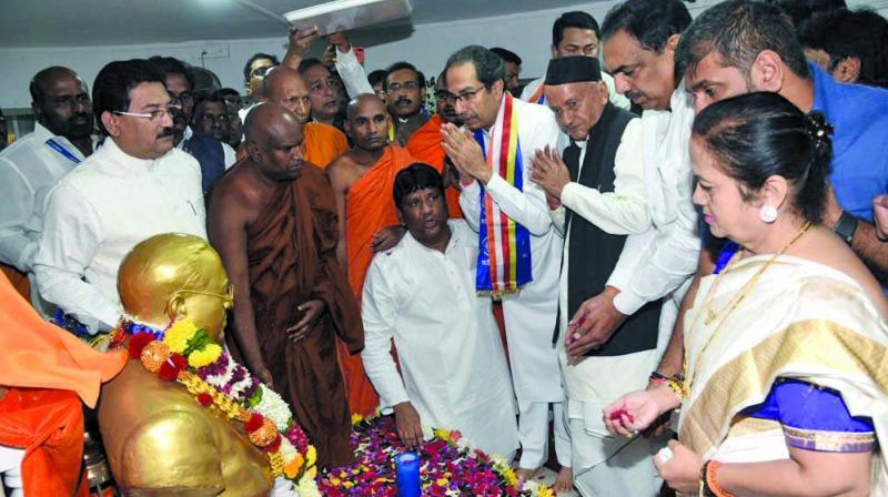 Chief minister Uddhav Thackeray along with his colleagues Jayant Patil, Sachin Ahir  and Kishori  Pednekar visited Chaityabhoomi to pay tribute. (Photo: DEBASISH DEY/RAJESH JADHAV)