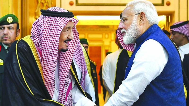Prime Minister Narendra Modi with Saudi King Salman bin Abdulaziz Al Saud in Riyadh on Tuesday. (Photo: PTI)