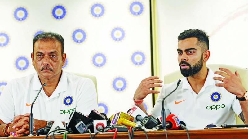 Coach Ravi Shastri and captain Virat Kohli address the media before Team India leave for London. (Photo: Rajesh Jadhav)