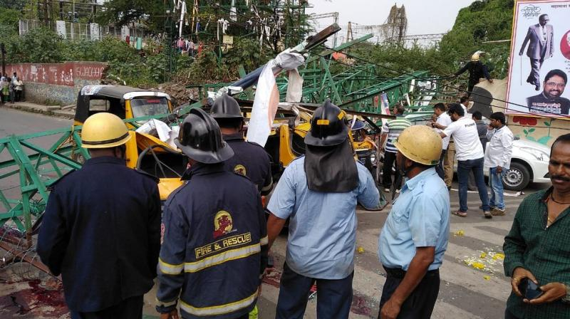 Fire brigade officials said that five auto-rickshaws, one two-wheeler and one car were damaged in the accident. (Photo: Twitter | ANI)