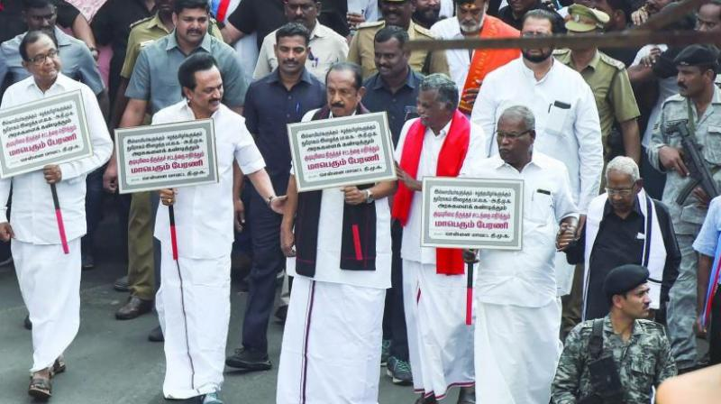 Thousands of people marched on the streets with DMK president MK Stalin and other opposition party leaders to protest against the CAA on Monday. (Photo: File)