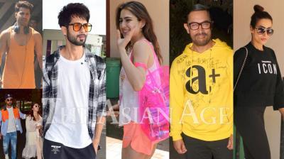 Bollywood celebrities like Aamir Khan, Ranbir Kapoor, Alia Bhatt, Varun Dhawan, Sara Ali Khan, Malaika Arora and others were spotted in the city of dreams, Mumbai. (Photos: Viral Bhayani)