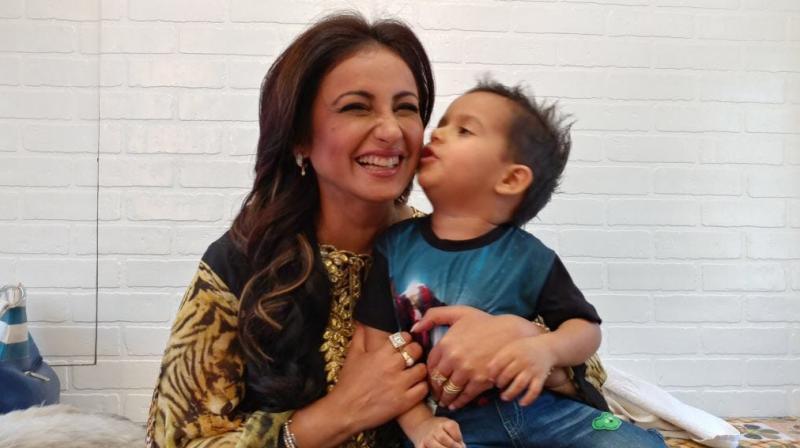 Divya Dutta with her nephew.