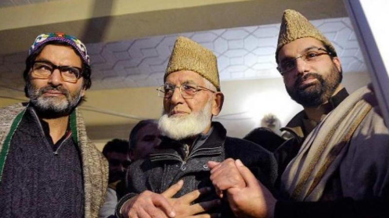 Separatist leaders Syed Ali Shah Geelani, Mirwaiz Umar Farooq and Mohammad Yasin Malik. (Photo: PTI/File)