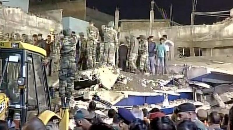 At least 7 labourers were killed and a dozen others were injured after an under-construction building collapsed today in Kanpur's Jajmau.