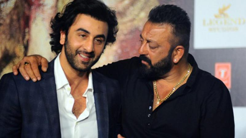 Ranbir Kapoor and Sanjay Dutt at the trailer launch of 'Bhoomi.'