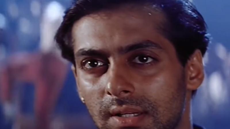 Salman Khan in a still from 'Karan Arjun'.