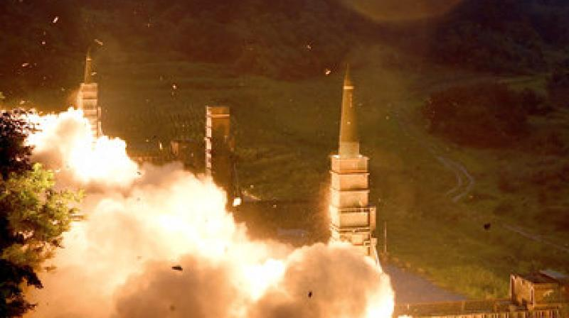 South Korea's Hyunmoo II Missile system fire missiles during the combined military exercise between the US and South Korea against North Korea (Photo: AP)