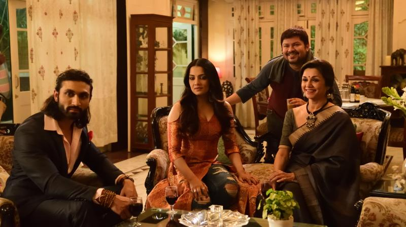 Debubant Azhar Khan, Celina Jaitly Haag, Director Ram Kamal Mukherjee and Lillette Dubey. (Photo by Sudipta Chanda)