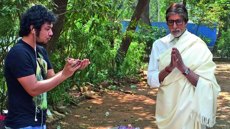 Papon with Amitabh Bachchan during the shoot of the song