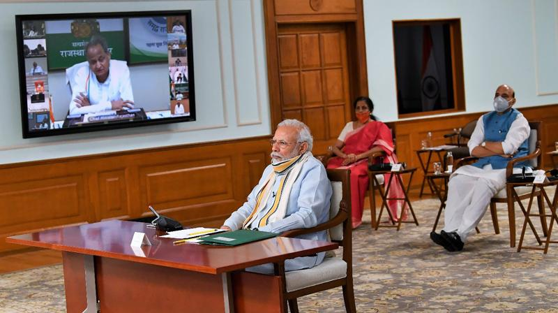 Prime minister Narendra Modi interacts with chief ministers during a video conference on the COVID-19 situation on Monday. (PTI)
