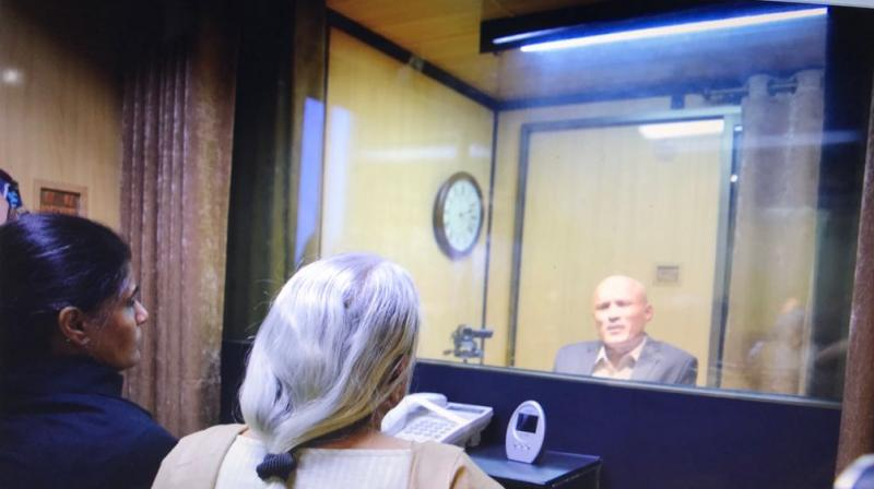 Jadhav's mother was not allowed to speak to her son in their mother tongue, despite this being the most natural mode of communication.(Photo: ANI | Twitter)