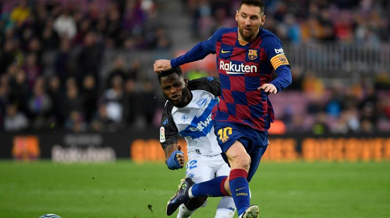 Lionel Messi racked up 50 goals for the sixth year in a row while fellow forwards Luis Suarez and Antoine Griezmann were also on target as Barcelona turned on the style to beat Alaves 4-1 on Saturday and ensure they will end 2019 top of La Liga. (Photo:AFP)