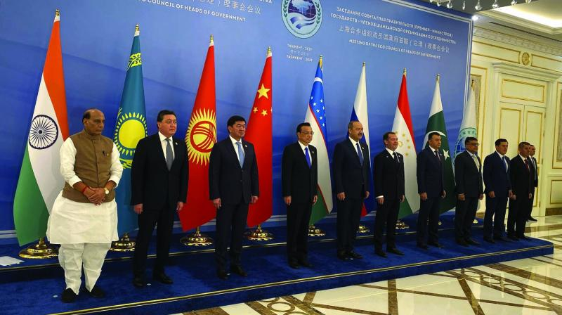 Defence minister Rajnath Singh with Council of Heads of Government of Shanghai Cooperation Organisation at Tashkent, Uzbekistan, on Saturday. (Photo: PTI)