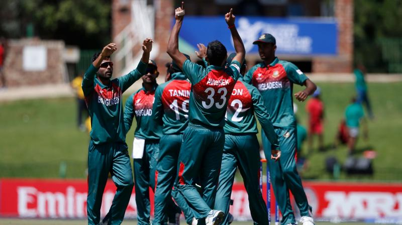 In this photo sourced from ICC, Mohammad Shoriful Islam of Bangladesh celebrates the wicket of Siddhesh Veer of India during the ICC U-19 Cricket World Cup final between India and Bangladesh at JB Marks Oval, in Potchefstroom, South Africa, on Feb. 9, 2020. (PTI Photo)