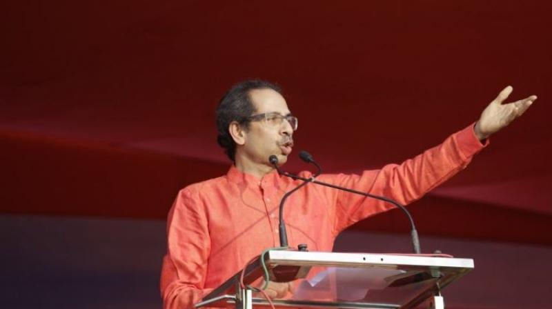 Shiv Sena chief Uddhav Thackeray was addressing a public rally in Solapur district in Maharashtra. (Photo: Twitter | @uddhavthackeray)